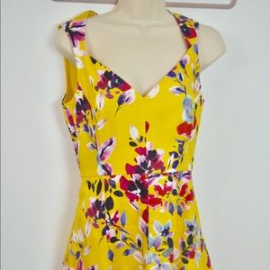 French Connection 2 yellow skater sweetheart dress